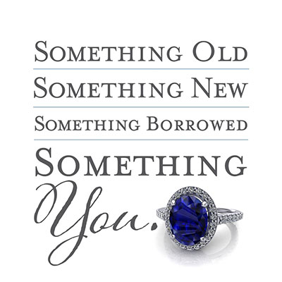 Something old, something new, something borrowed, something you. Bespoke ring with centre sapphire.