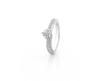 Pave Set Round Brilliant Cut Diamond Engagement Ring