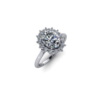 Wire Basket Halo Diamond Ring